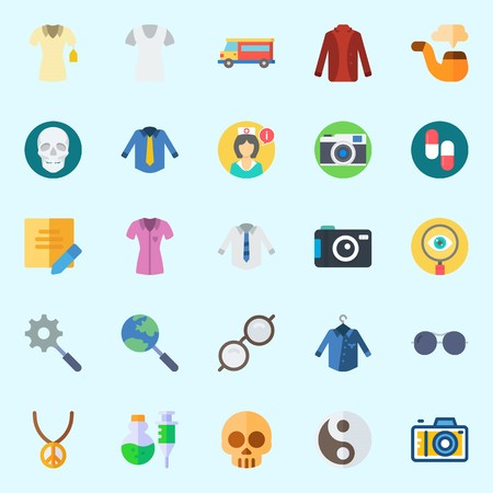 Icons about Hippies with sunglasses, pills, skull, van, nurse and note
