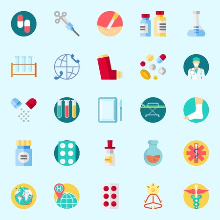 Icons about Medical with stretcher, medicine, surgery, inhaler, mystical and tablets
