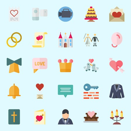 Icons about Wedding with couple, crown, love birds, keywords, balloons and chat