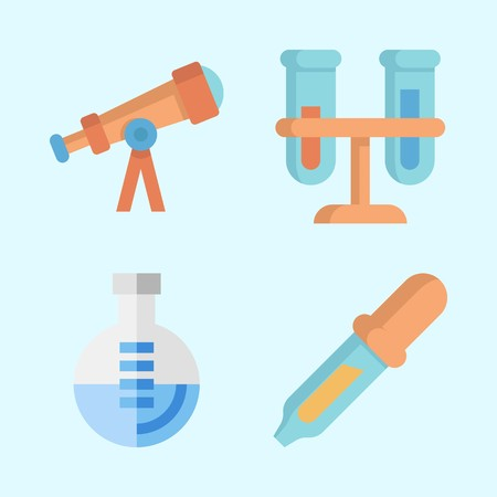 Icons about Science with pipiette, flasks, telescope and flask 向量圖像