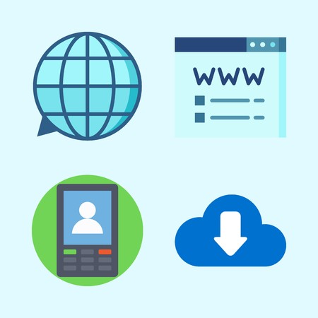 Icons set about Seo with domain registration, translation, smartphone and download