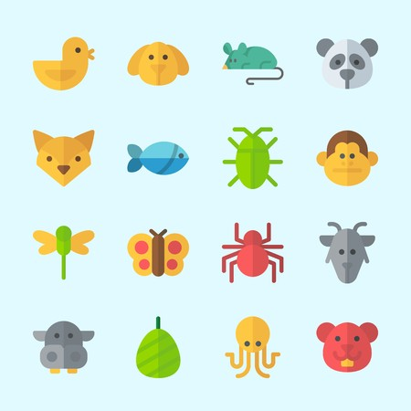 Icons about Animals with chicken, dragonfly, butterfly, fox, mouse and fish