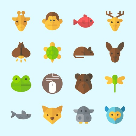 Icons about Animals with shark, giraffe, firefly, deer, turtle and bear
