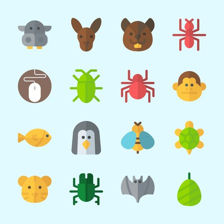 Icons about animals with cocoon, monkey, hippopotamus, turtle, wasp and penguin.