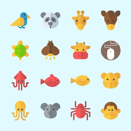 Icons about animals with spider, octopus, squid, monkey, giraffe and fish. Illustration