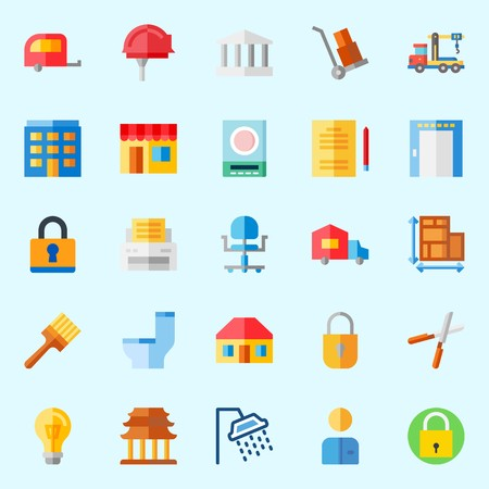 Icons about real assets with religious, roof, printer, studying, truck and elevator. Illustration