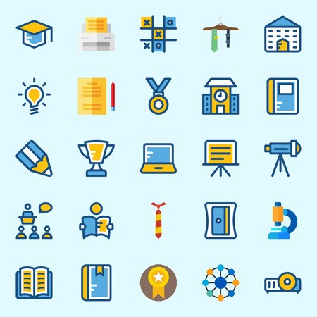 Icons set about School And Education with studying, printer, idea, tie, notebook and mortarboard