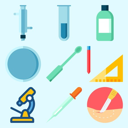 Icons set about laboratory with watch glass, surgery, ladle, condenser, jar and measuring. Çizim