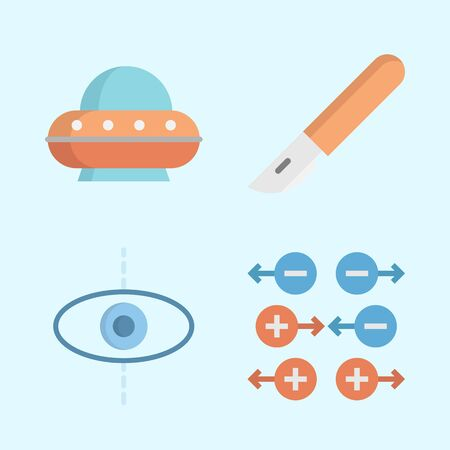 Icons about Science with ufo, planet, scalpel and gravity Ilustracja