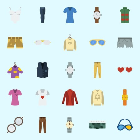 Icons set about Man Clothes with vest, sleeveless, short, sweater, sunglasses and shirt  イラスト・ベクター素材