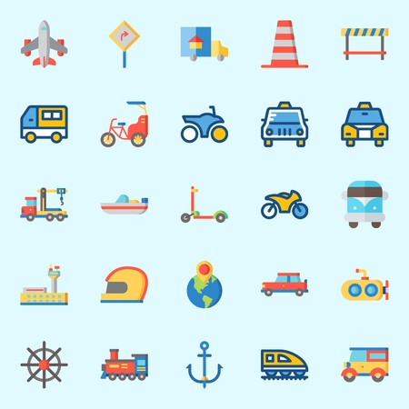 Icons about Transportation with motorbike, boat, train, road sing, destination and van