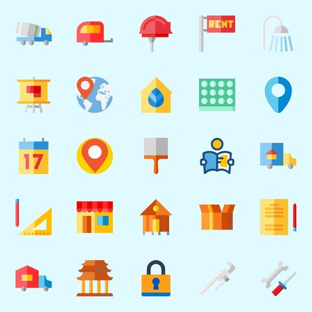 Icons about Real Assets with placeholder, rent, padlock, religious, shower and measuring Illustration