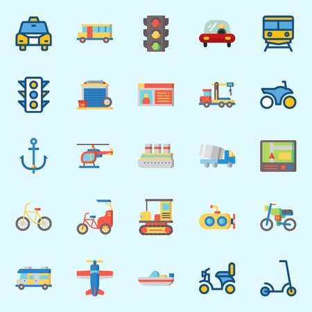 Icons about Transportation with truck, motorbike, crane, bicycle, driving license and bike