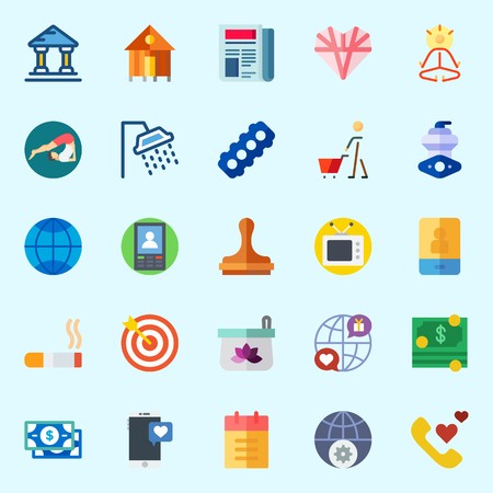 Icons set about lifestyle with cigarette, mystical, motor, shower, internet and phone call.