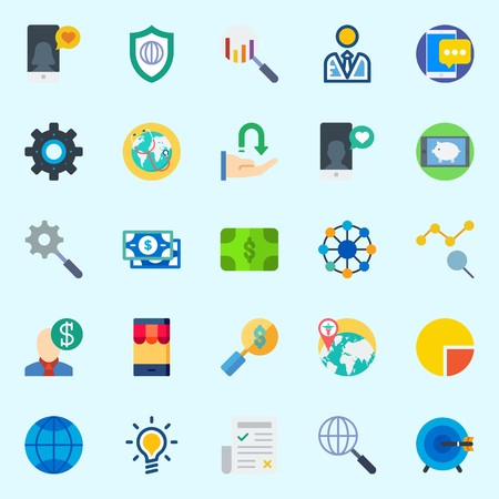 Icons about Marketing with settings, idea, shield, search, networking and smartphone