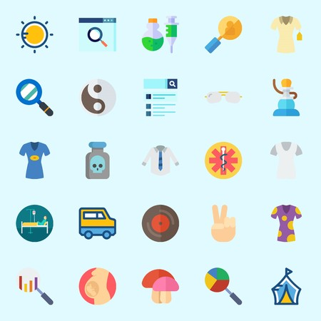 Icons about hippies with patient, sun, pipe, van, yin-yang and sunglasses. Illustration