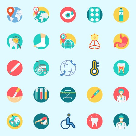 Icons set about Medical with teeth, surgeon, thermometer, sprain, visibility and test tubes Illustration