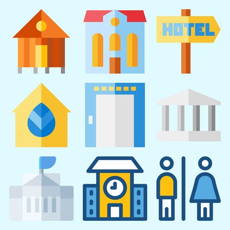 Icons set about Construction with hotel, white house, rent, monumental, school and real estate Иллюстрация
