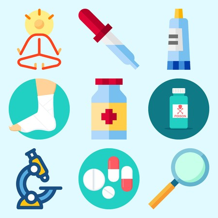 Icons set about Medical with poison, cream, pill, pipette, medicine and yoga
