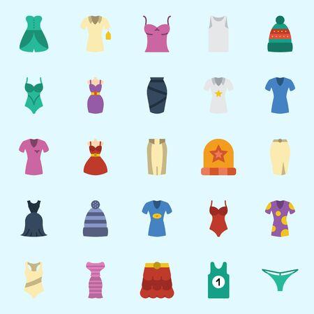 소매가없는 여성복, 드레스, 겨울 모자, 셔츠, 스커트, 끈이 달린 아이콘