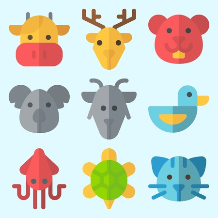 Icons set about animals with turtle, squid, cow, goat, hamster and cat.