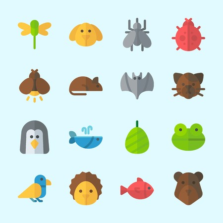 Icons about animals with bat, cat, dog, ladybug, firefly and bear.