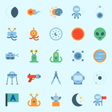 Icons about universe with comet, orbit, astrology, alien, astronaut and flag.
