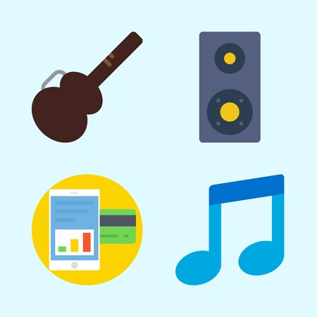Icons set about music with smartphone, announcer, musical note, speaker and guitar protector. Çizim