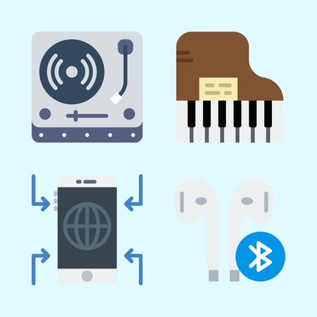 Icons set about Music with earphone, piano, turntable and smartphone Çizim