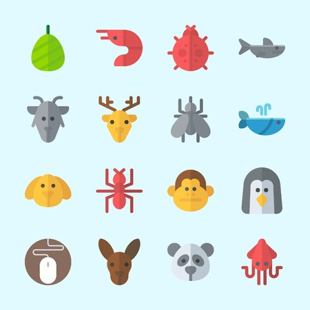 Icons about animals with mouse, squid, deer, cocoon, dog and mosquito. Çizim
