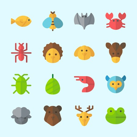 Icons about Animals with bat, cocoon, owl, hedgehog, crab and deer
