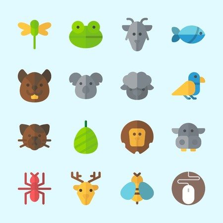 Icons about animals with sheep, cat, lion, fish, squirrel and hippopotamus. Çizim