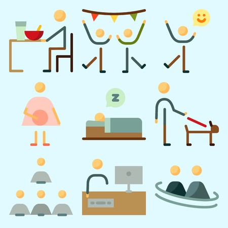 Icons set about human with working, television, happiness, humans, dancing and weather. Illustration