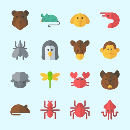 Icons about Animals with crab, dragonfly, spider, bear, mouse and dog Illustration