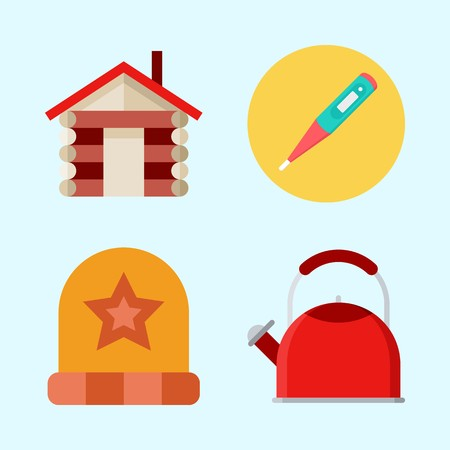 Icons set about Winter with house, thermometer, winter hat and kettle