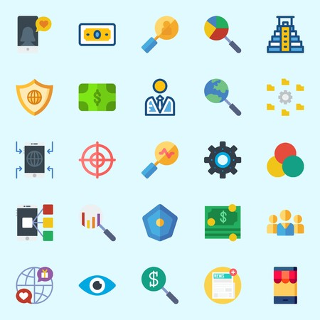 Icons about marketing with rgb, teamwork, vision, money, settings and newspaper.