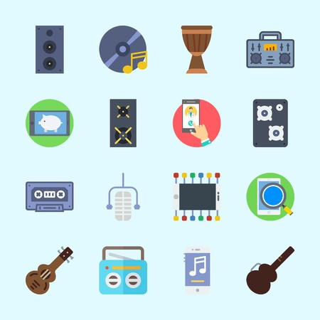 Icons about Music with microphone, guitar, music player, speaker, cd and guitar protector Çizim