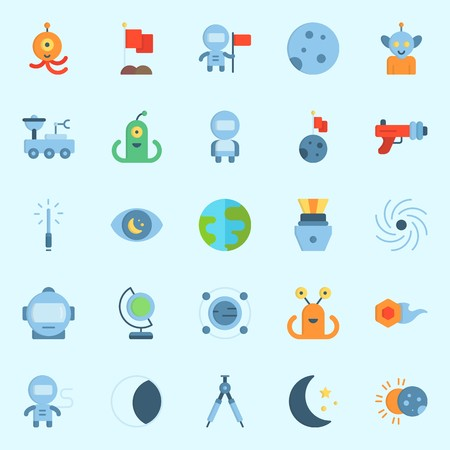 Icons set about universe with astronaut, comet, orbit, earth, alien and blaster.