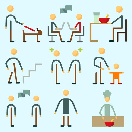 Icons set about human with baby, dialogue, weather, stairs, chatting and responsibility. Illustration