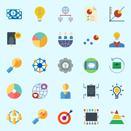 Icons about marketing with smartphone, internet, idea, line graph, target and teamwork. Illustration