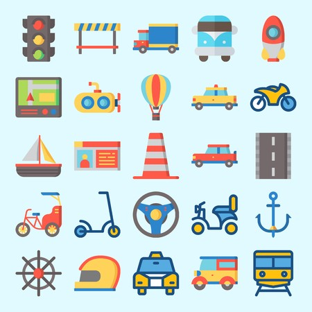 Icons set about Transportation with scooter, gps, motorbike, rudder, anchor and driving license