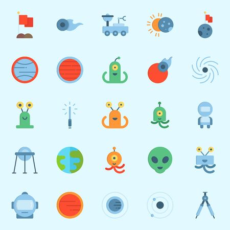 Icons set about Universe with comet, compass, mars, flag, earth and uran Illustration