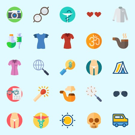 Icons set about Hippies with search, pipe, pharmacy, skull, tent and photo camera Illustration