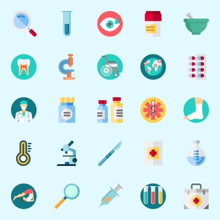 Icons about Medical with flask, thermometer, medicine, teeth, wheelchair and yoga