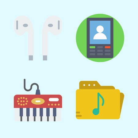 Icons set about Music with earphones, music folder, piano and smartphone