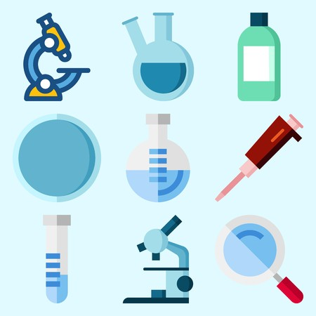 Icons set about Laboratory with microscope, jar, watch glass, loupe, test tube and condenser Illusztráció