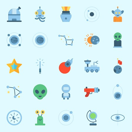 Icons set about Universe with star, capsule, planet, blaster, observatory and moon rover