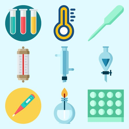 Icons set about Laboratory with burner, funnel, lab, test tubes, dropper and condenser