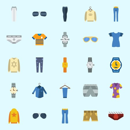 Icons about Man Clothes with sweater, watch, sunglasses, wristwatch, trousers and underwear