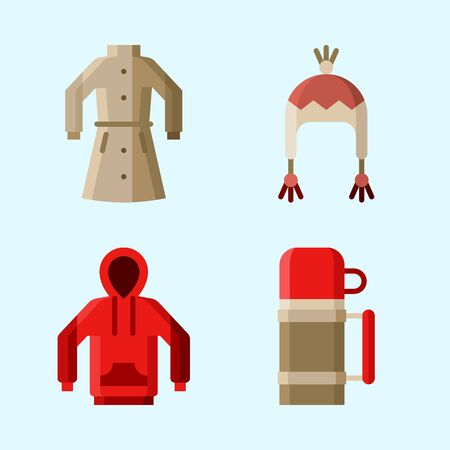 Icons set about Winter with hoodie, winter coat, coat, winter hat and thermo Illustration